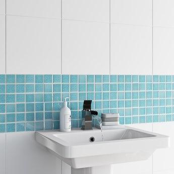 Mosaic iridescent sea blue gloss tile 305mm x 305mm - 1 sheet