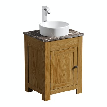 The Bath Co. Chester oak washstand 600mm with brown marble top and Calhoun basin