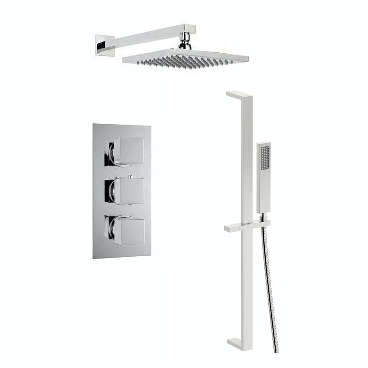 Mode Cubik Thermostatic Triple Shower Valve Shower Set ...