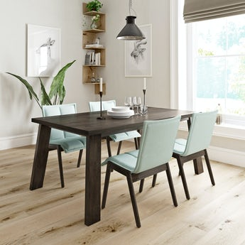 Lincoln walnut dining table with 4x Hadley light green dining chairs