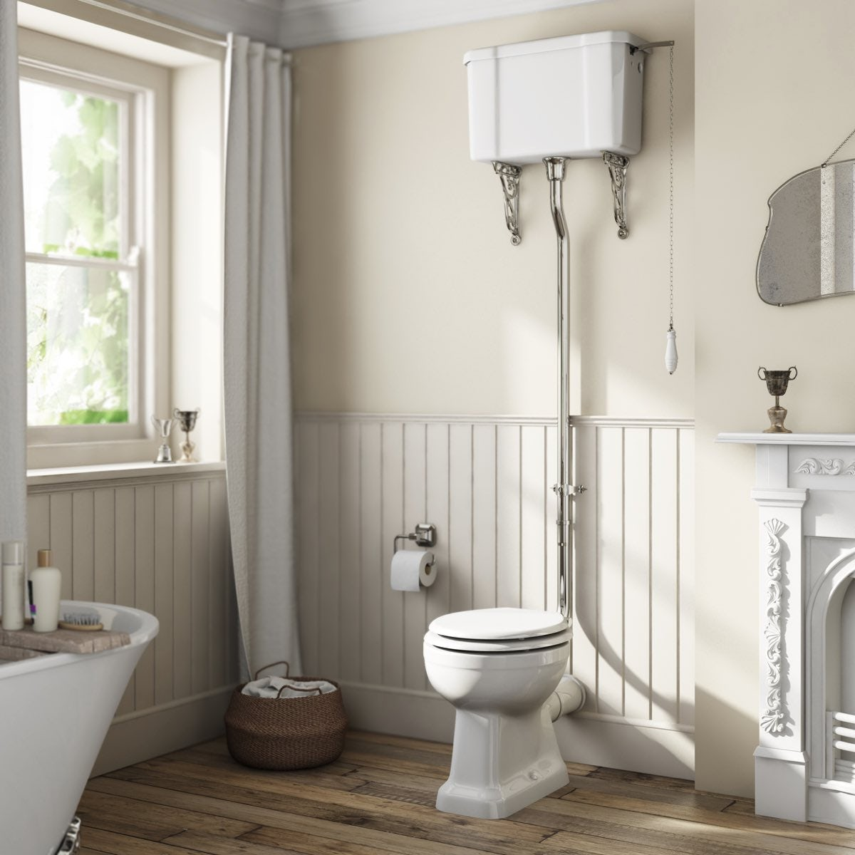 The Bath Co Camberley High Level Toilet With Wooden Soft Close Seat White