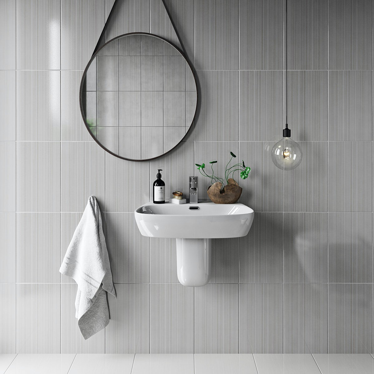 Linear Grey Gloss Tile 248mm X 398mm