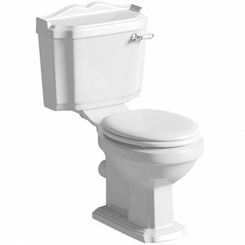 Winchester close coupled toilet with painted wood seat white