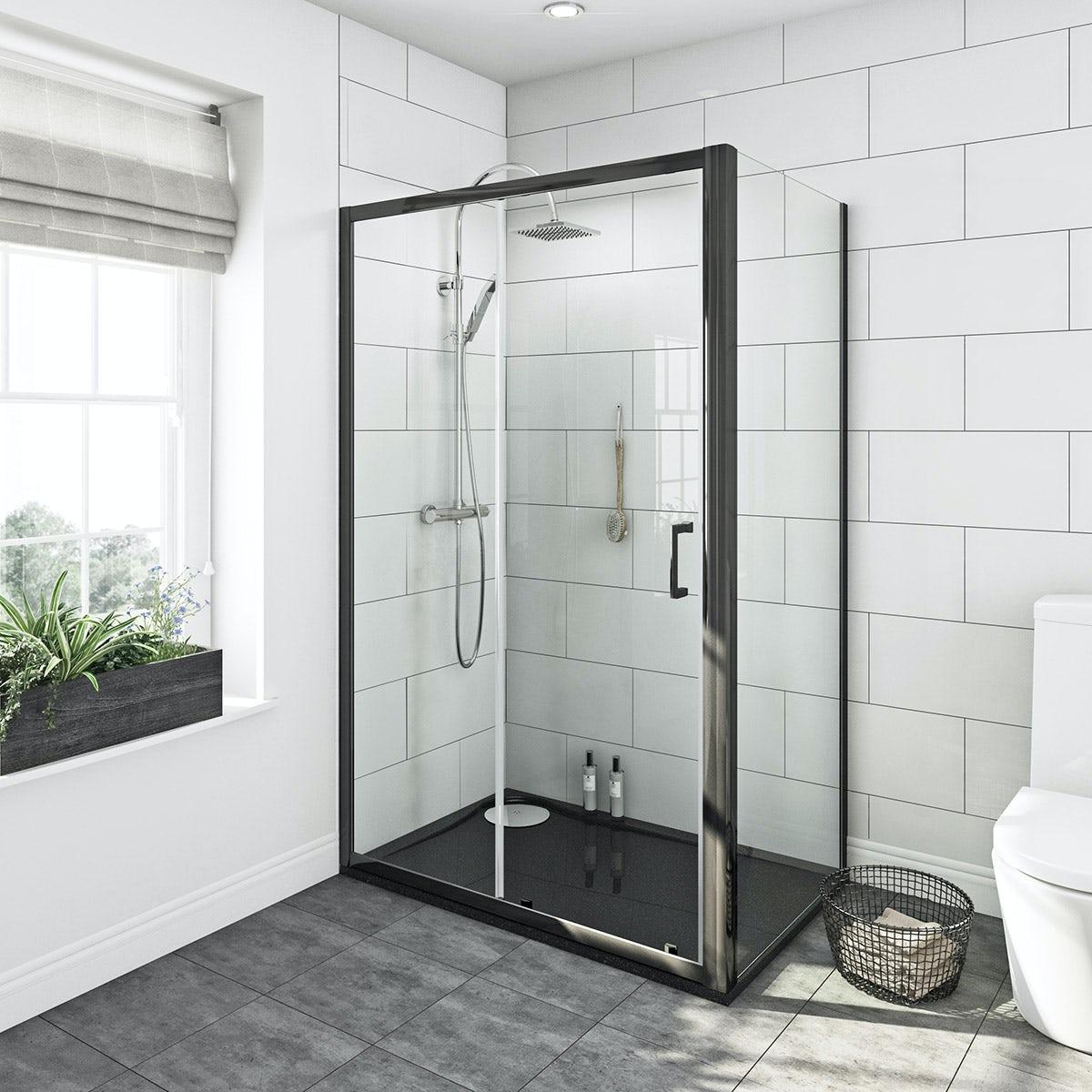Mode Premium Black 6mm Shower Enclosure With Rh Tray
