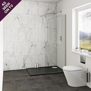 Mode luxury 8mm wet room glass panel 700mm with left handed black tray 1200 x 800