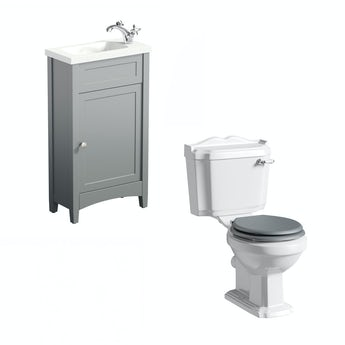 Camberley grey cloakroom unit with Winchester close coupled toilet