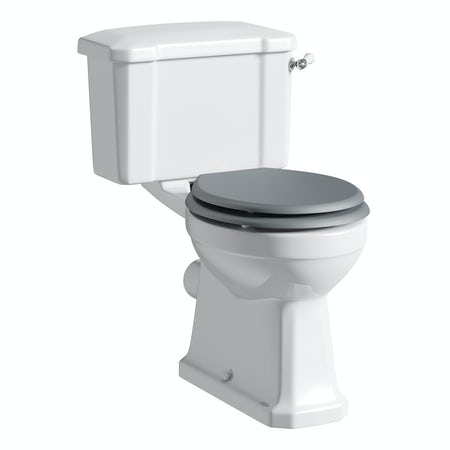 The Bath Co Camberley Close Coupled Toilet With Grey Soft Close Seat Victo
