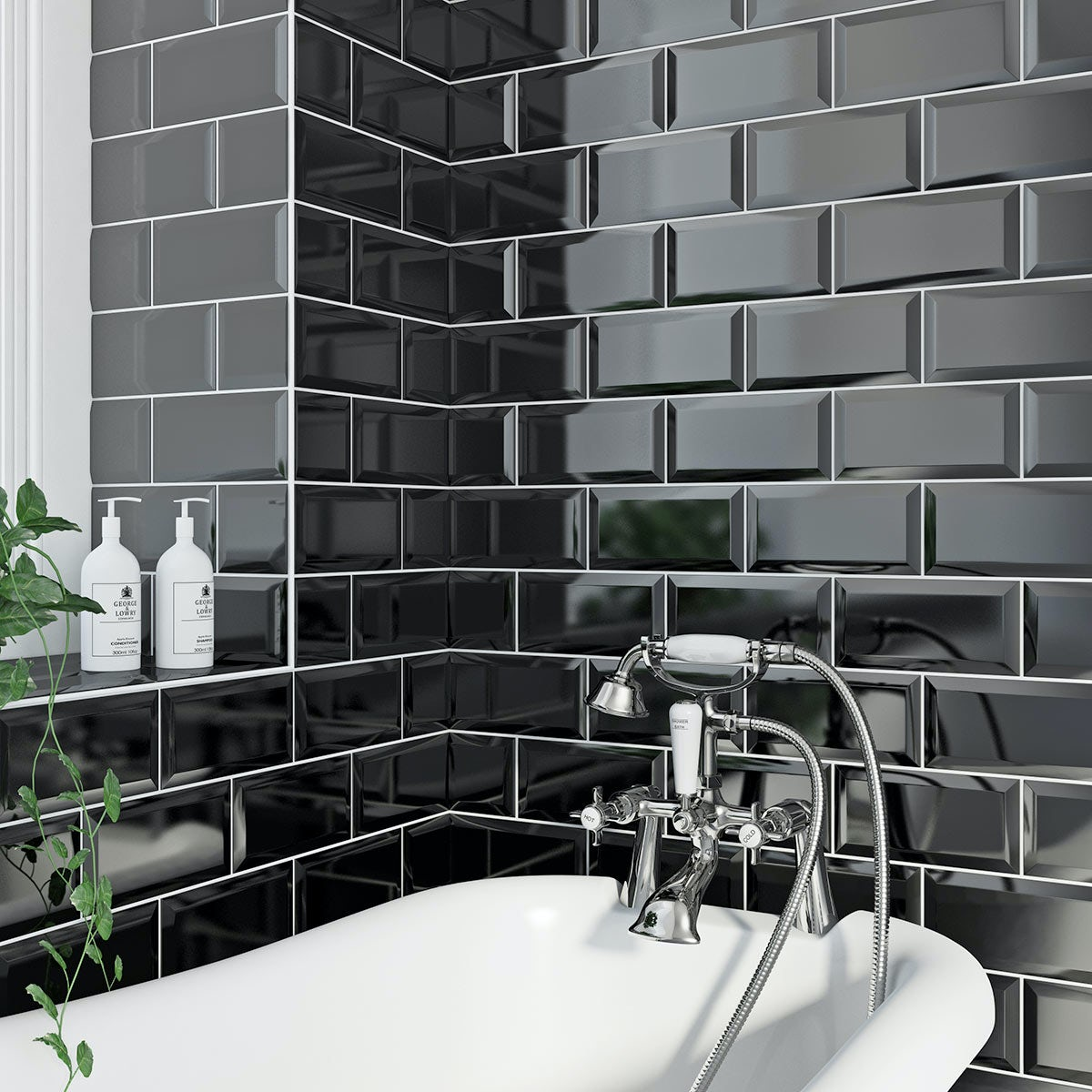 Black Gloss Kitchen Wall Tiles: Metro Black Bevel Gloss Tile 100mm X 200mm