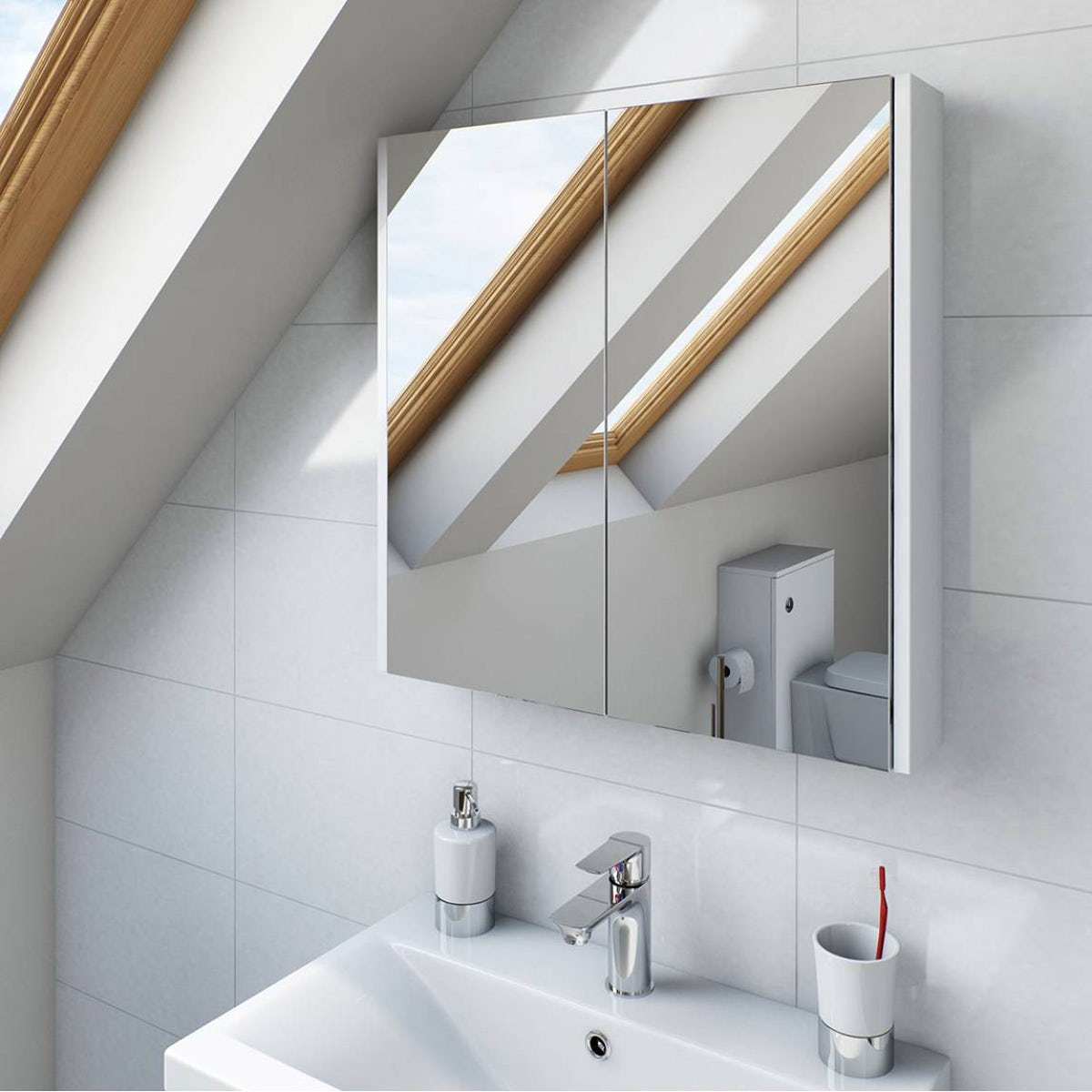 White 2 Door Bathroom Mirror Cabinet
