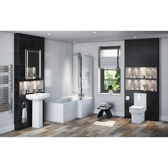 Vermont bathroom suite with right handed L shaped shower bath 1700 x 850