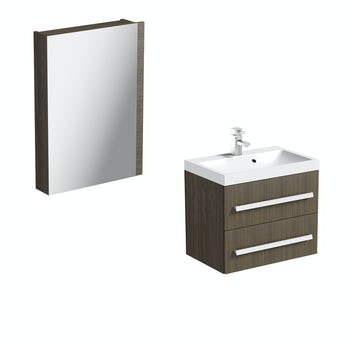 Arden walnut 600 wall hung vanity unit and mirror offer