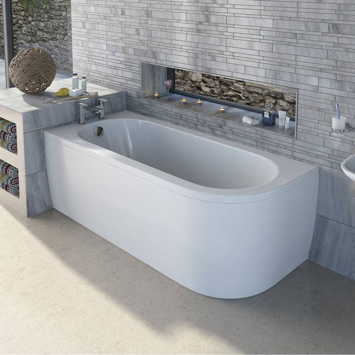 Mode Cayman D Shaped Left Handed Single Ended Bath With