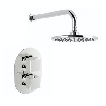 Mode Cubik oval twin thermostatic shower valve and circular shower head set
