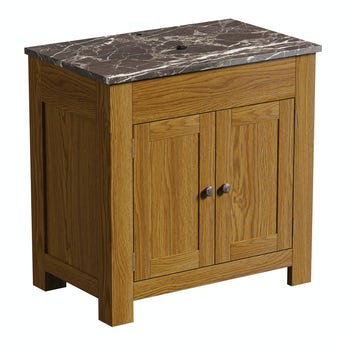 The Bath Co. Chester oak washstand 800mm with brown marble top