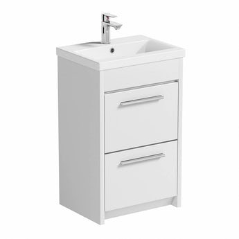 Smart white vanity drawer unit with basin 500mm