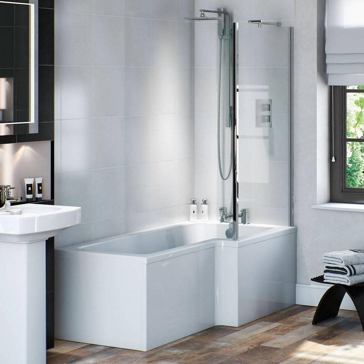 L Shaped Shower Bath Suite Vermont Complete Shower Bath Suite Rh Victoriaplum Com