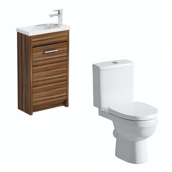 Smart walnut cloakroom unit with Energy close coupled toilet