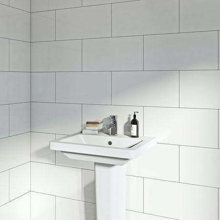 lifestyle shot of rectangular white gloss tile