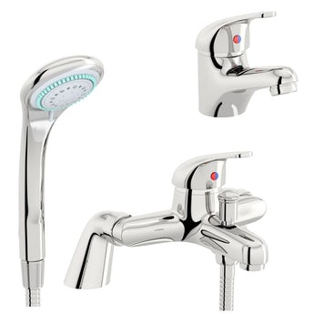 Pulse basin and bath shower mixer tap pack. Bath Shower Mixer Taps   Bath Tap with Shower   VictoriaPlum com