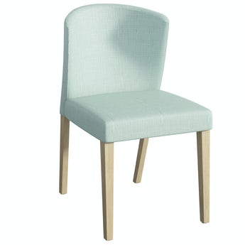 Hudson Oak and Light Green Pair of Dining Chairs