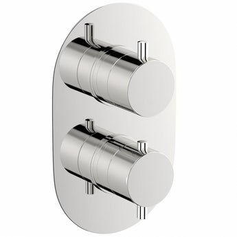 Matrix oval twin thermostatic shower valve with diverter offer pack