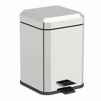 Options square stainless steel bathroom bin 5 litre