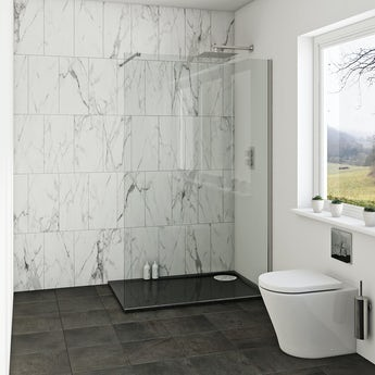 Mode luxury 8mm wet room glass panel 1200mm with left handed black tray 1200 x 800