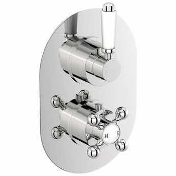 The Bath Co. Traditional oval twin thermostatic shower valve with diverter offer pack