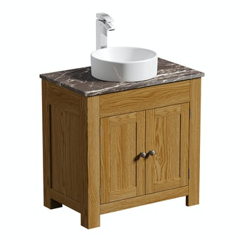 The Bath Co. Chester oak washstand 800mm with brown marble top and Calhoun basin