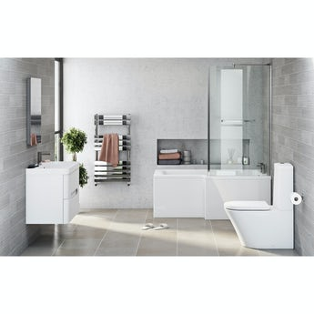 Mode Arte right hand shower bath 1700 x 850 suite with Planet white 800 wall hung unit