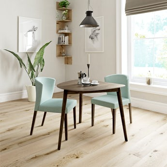 Ernest walnut apartment table with 2 x Hudson light green dining chairs