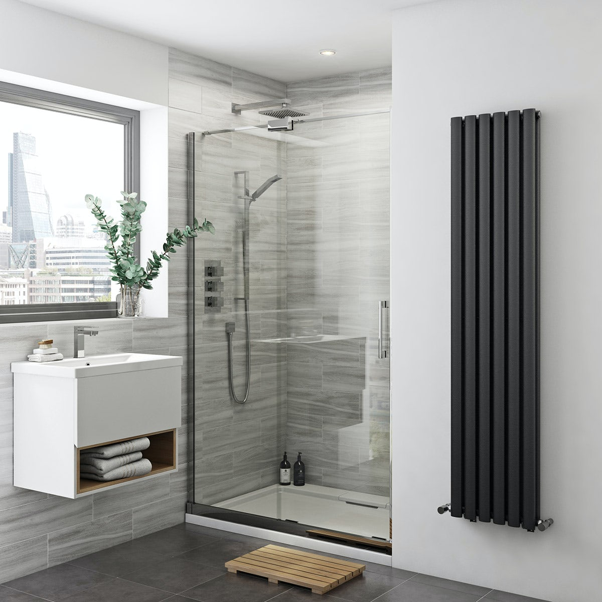 mode glaser premium 8mm easy clean left handed sliding shower door 1200mm. Black Bedroom Furniture Sets. Home Design Ideas