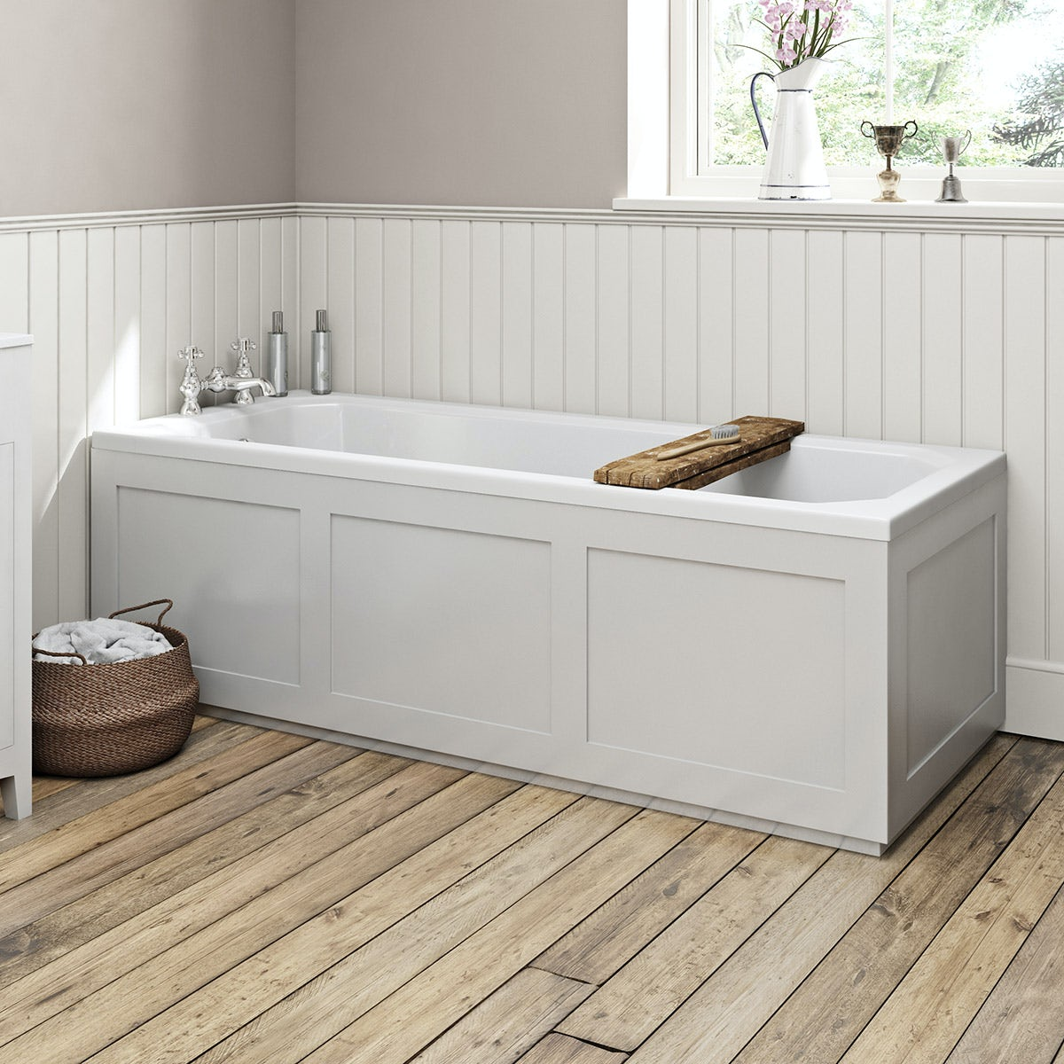 The Bath Co Camberley White Wooden Straight Bath Front Panel 1700mm