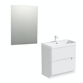 Mode Planet white vanity drawer unit 800mm and mirror offer