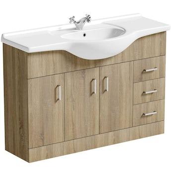 Sienna oak vanity unit and basin 1200mm
