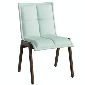 Hadley Walnut and Light Green Pair of Dining Chairs