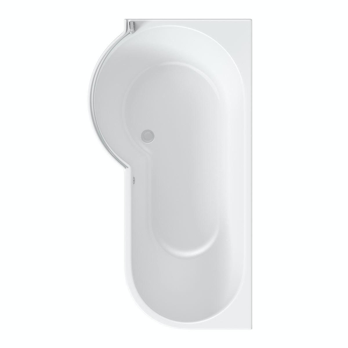 mode maine left handed p shaped shower bath and shower p shaped bath 1500mm 1700mm bath full enclosure screen