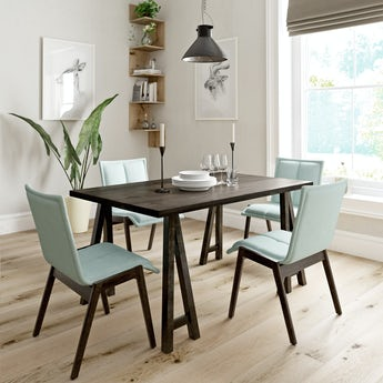 Hudson walnut trestle table with 4x Hadley light green dining chairs