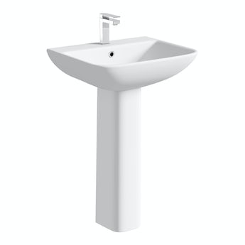 Compact Square 1 tap hole full pedestal basin 550mm