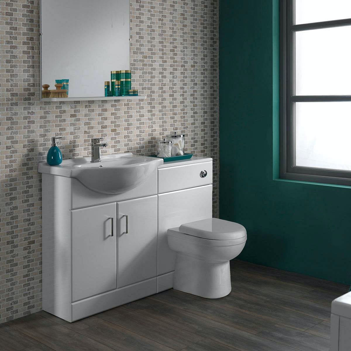 Sienna autograph white gloss combination vanity unit for Large bathroom units