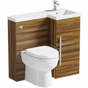 MySpace walnut right handed unit with Energy back to wall toilet