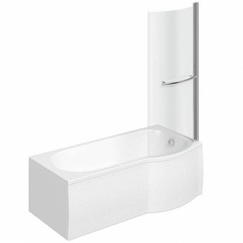P shaped right handed shower bath 1500mm with 6mm shower screen and rail