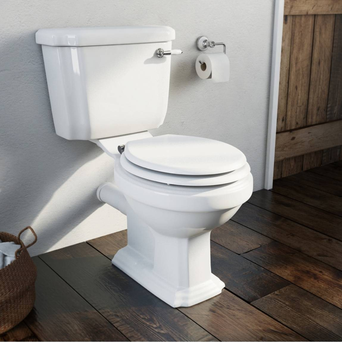 Cavendish Close Coupled Toilet With White Seat And Ceramic Handle Flush Vic