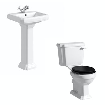 Cavendish toilet suite with black seat and full pedestal basin 500mm