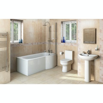 Oakley bathroom suite with right handed P shaped shower bath 1675 x 850