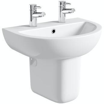 Elena 2 tap hole semi pedestal basin