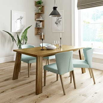 Lincoln oak dining table with 4 x Hudson light green dining chairs
