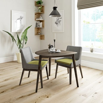 Ernest walnut apartment table with 2 x Lincoln grey/green dining chairs