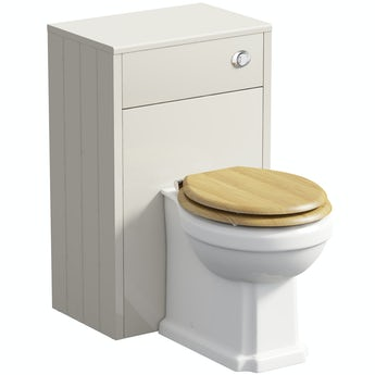 The Bath Co. Winchester ivory back to wall unit and toilet with oak effect seat