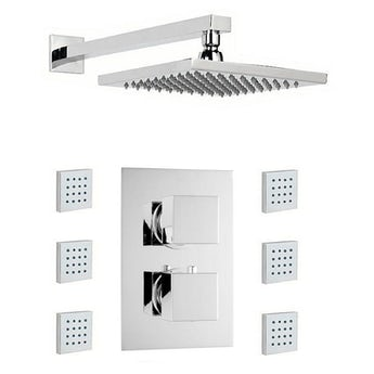 Mode Cubik thermostatic twin shower valve with body jets and shower head set